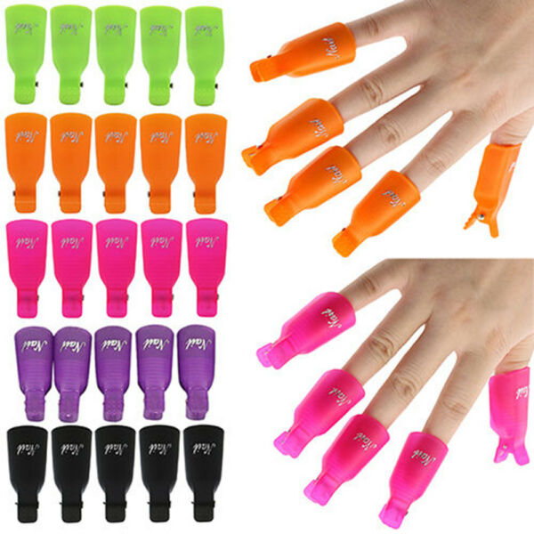 10x Nail Art Toenail Soak Off Clip Cap UV Gel Polish Clamp/Remover Wrap Tool BK