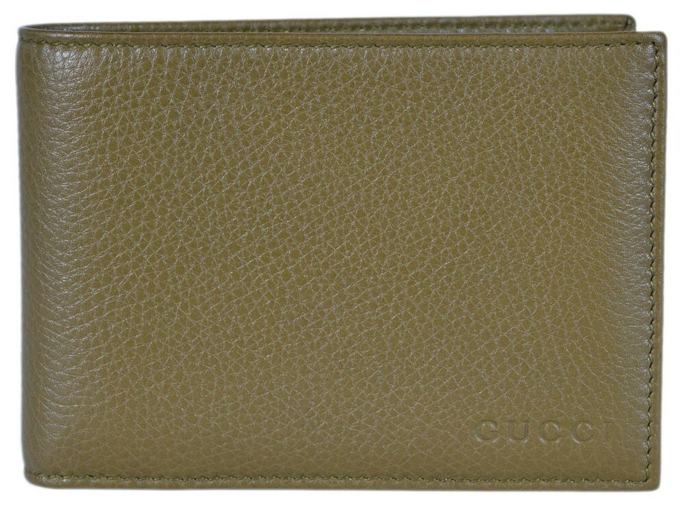 df85c715cdf Details about NEW Gucci Men s 292534 Olive Green Textured Leather W Coin  Large Bifold Wallet