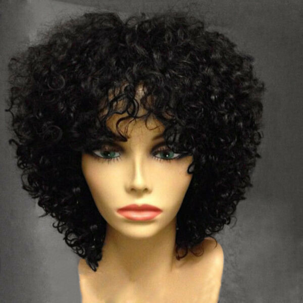 NEW Afro Side Bang Wig Fashion Curly Short Hair With Hairnet Synthetic Orgshine