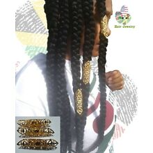 NATIVE Gold Dreadlock beads Braids Loc Hair Jewelry 4.5 cm Cuffs Wraps MASAI
