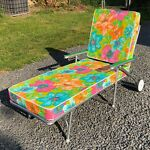VINTAGE RETRO FLOWER POWER CHAISE LOUNGE CHAIR- LOOKS UNUSED
