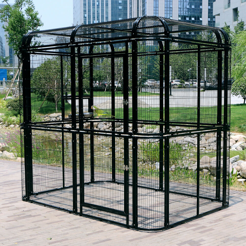 Details About L Heavy Duty Walk In Aviary Bird Cage Parrot Pet Poultry House Outdoor Black