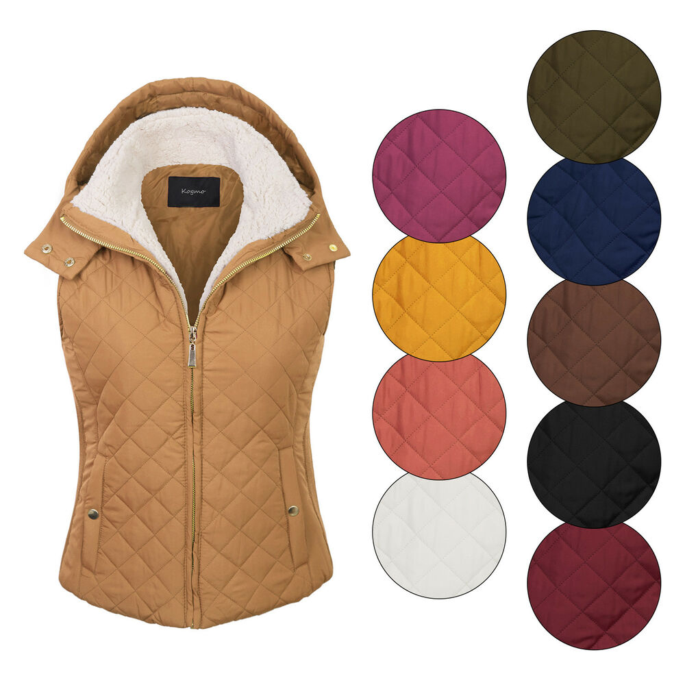 5aefffafb99 KOGMO Women's Quilted Lightweight Hoodie Vest with Sherpa Line ...