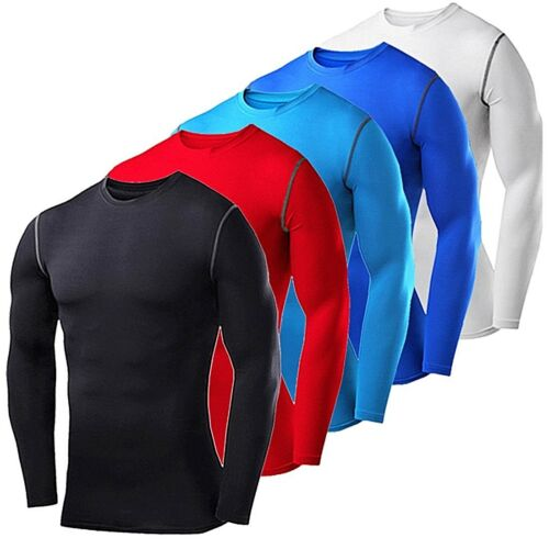 Mens Compression Shirt Long Sleeve Top Base Layer Gym Workout Clothes Sportswear