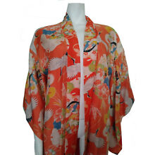Vintage Japanese Kimono Orange Silk W/Flying Cranes Fully Lined sz M