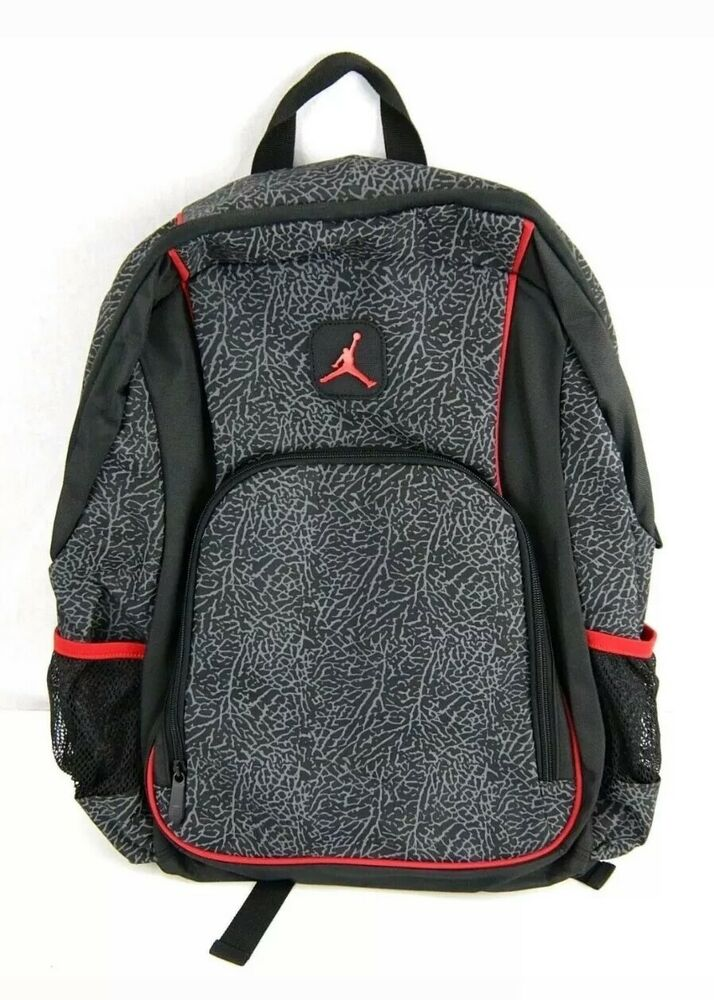 aa17c7c7371 Details about NIKE JORDAN Jumpman Elephant 2-Strap School Backpack -  Black/Red, One size NWT