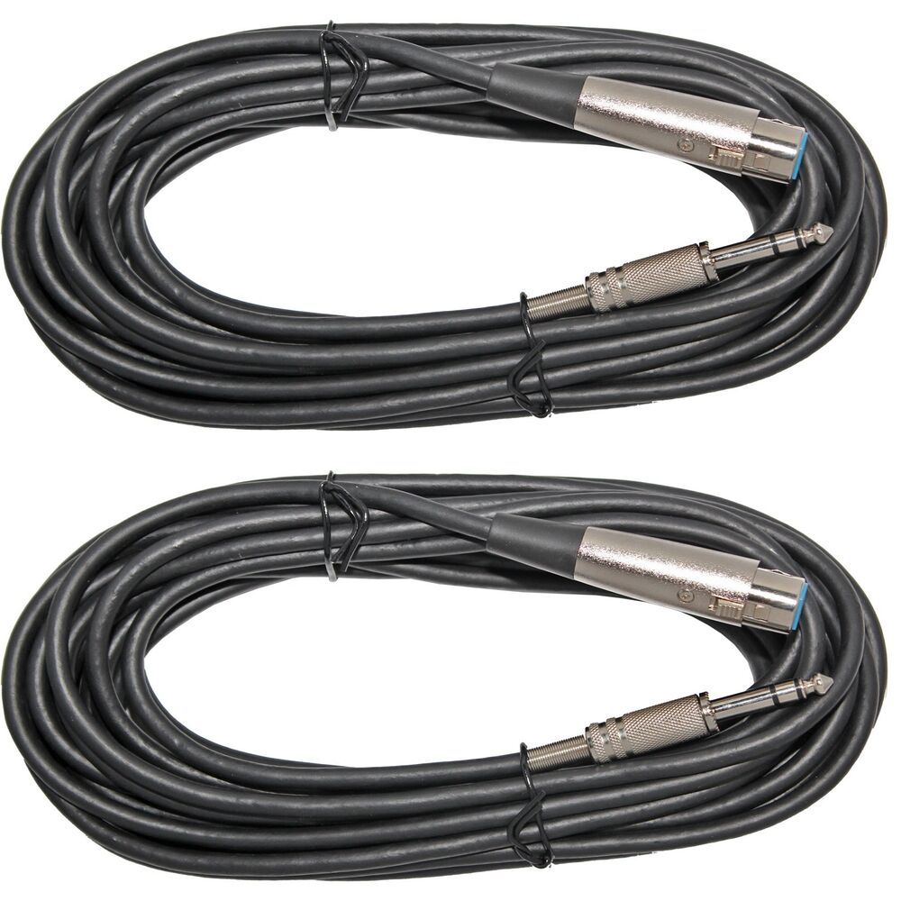 """5 Pack Lot 10ft XLR 3-Pin Female to 1//4/"""" Mono Shielded Microphone Mic Cable"""