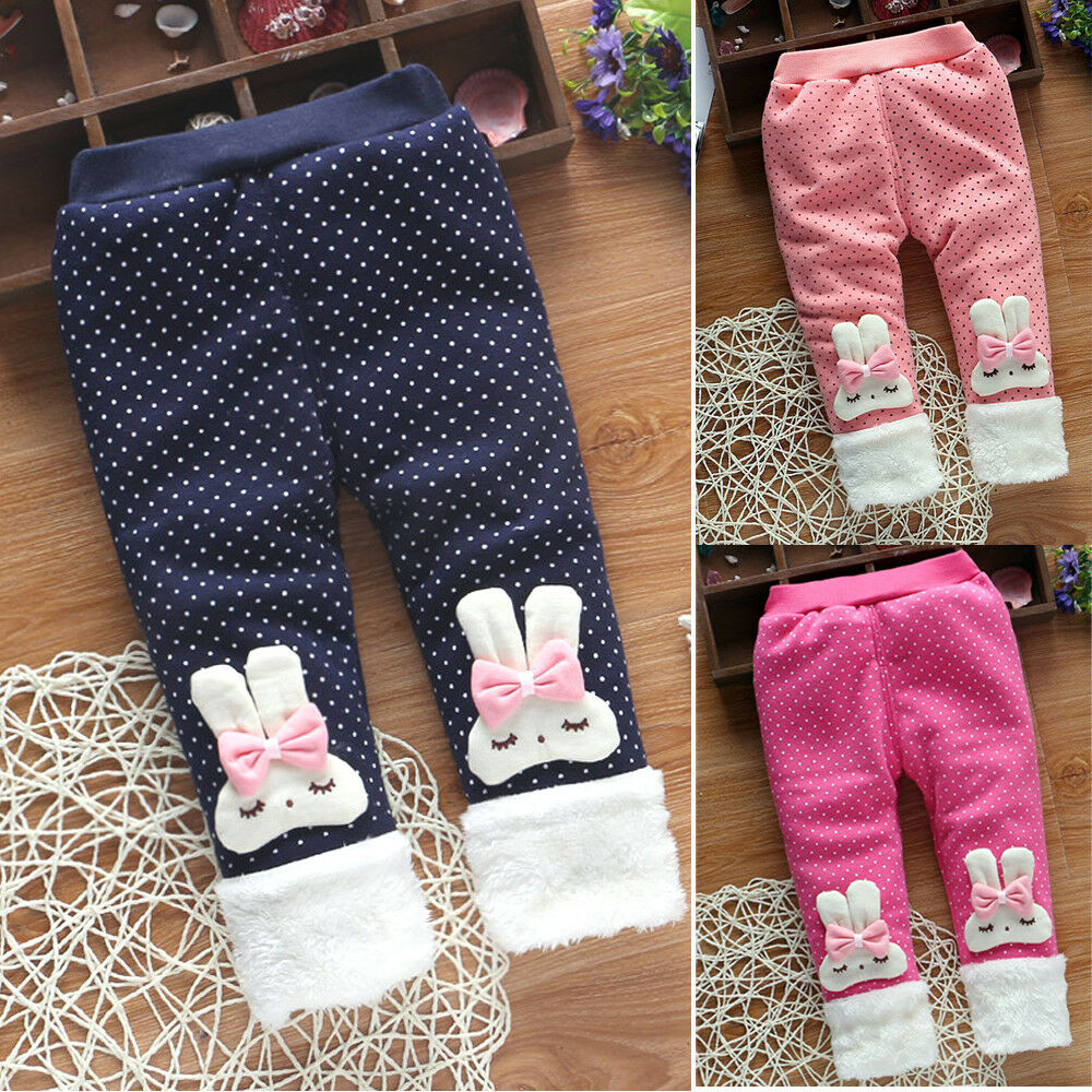 21f42911650b Baby Girl Pants Child Cartoon Cotton Thick Bowknot Pants Trousers ...