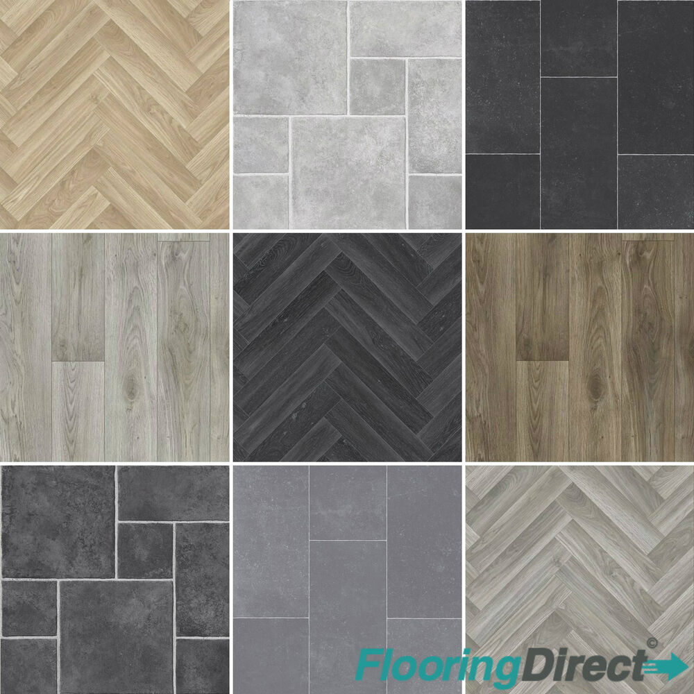 Details About 4mm Thick Quality Vinyl Flooring Kitchen Bathroom Lino Tile Oak Chevron 2 3 4m