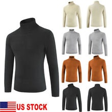 US Men's Thermal High Collar Turtle Neck Slim Long Sleeve Sweater Stretch Shirts