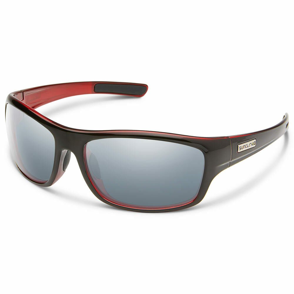 2d8ba554820 Details about Suncloud Cover Polarized Sunglasses Large Fit Black  Red Silver Mirror