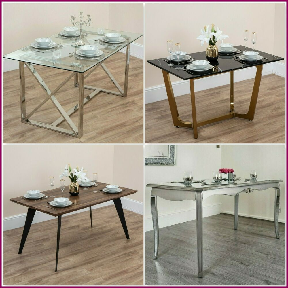 Details about Modern Mirror Dining Table 4 6 Seat Seater Glass Brushed Gold  Silver Shabby Chic 03fc221aab85