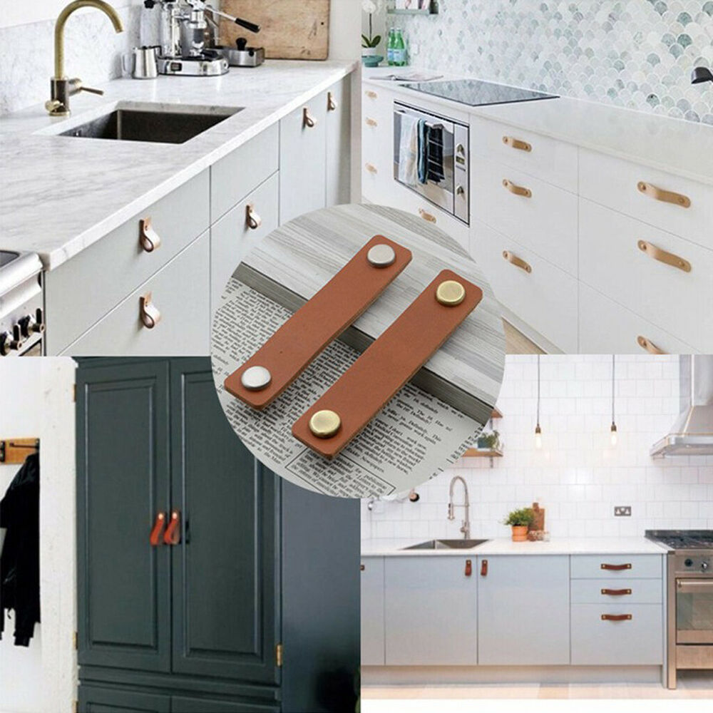 Details About Handmade Leather Strap Pull Handles Door S Cupboard Drawer Pulls
