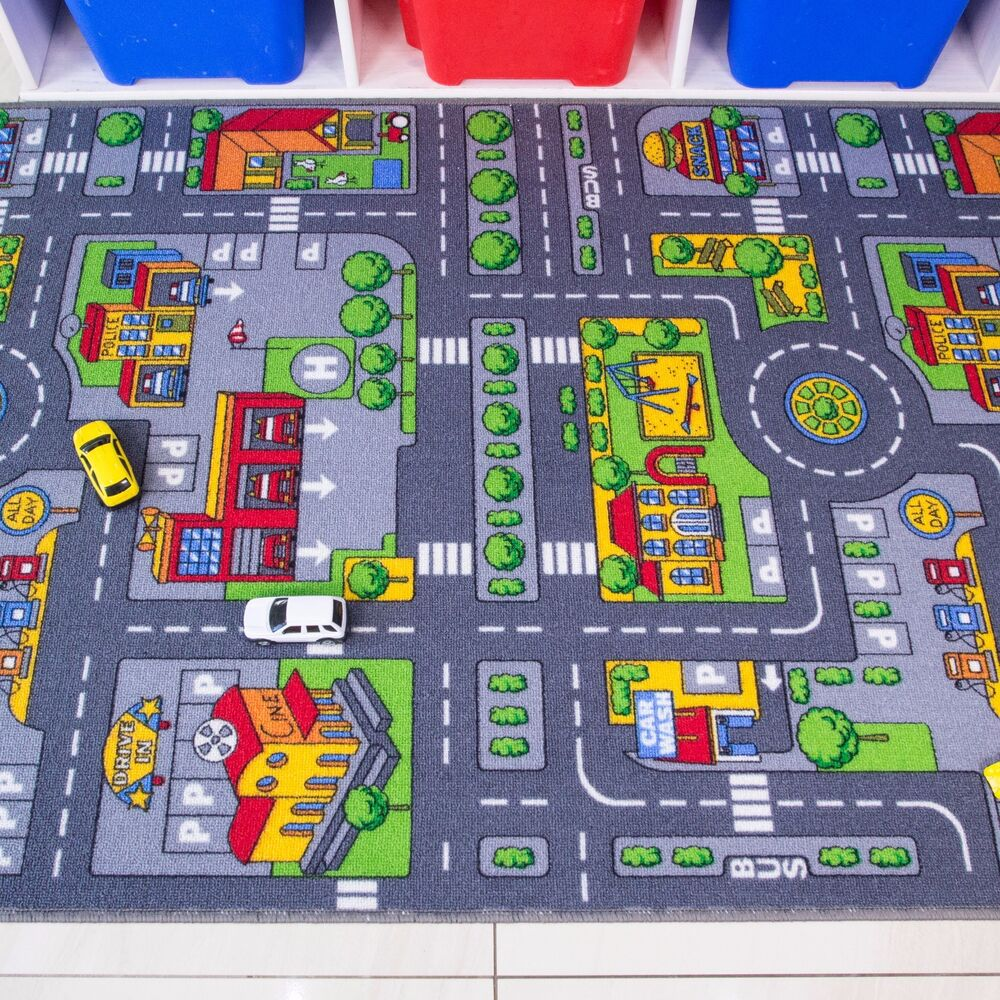 Kids Playmat City Toy Map Floor Mat Rug For Car Play Girls