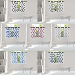 1 SET SMALL SHORT WINDOW LINED CURTAIN PANEL TREATMENT MOROCCAN PATTERN 36''