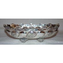 .800 Silver Footed Bowl, Fruit, Gold Wash, Chased Florals. 247 Grams.