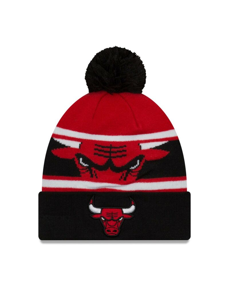 679e6a50c1ab9 Details about Chicago Bulls New Era Sport Knit Call Out Cuffed Pom Knit Hat  -Black Red