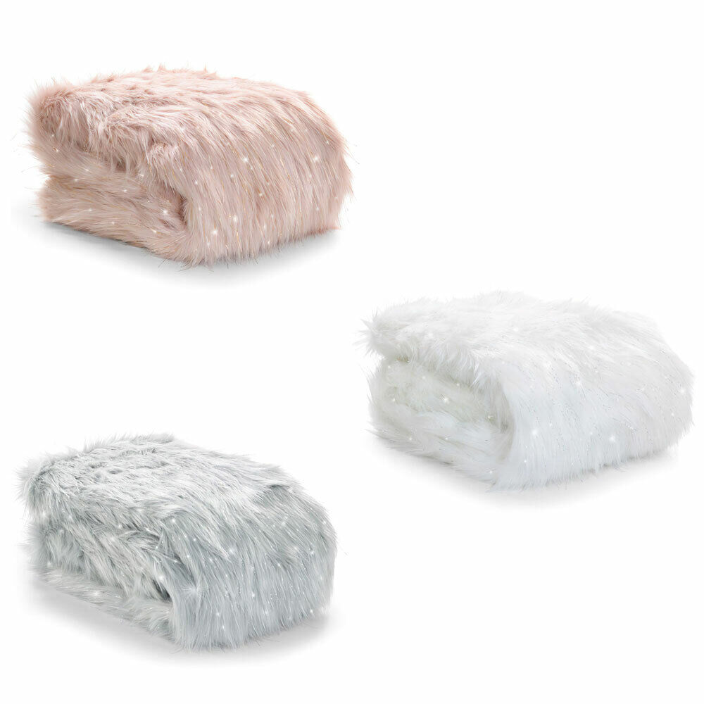 Fast Deliver Catherine Lansfield Metallic Fur Throw 130x170cm Duckegg Home Décor