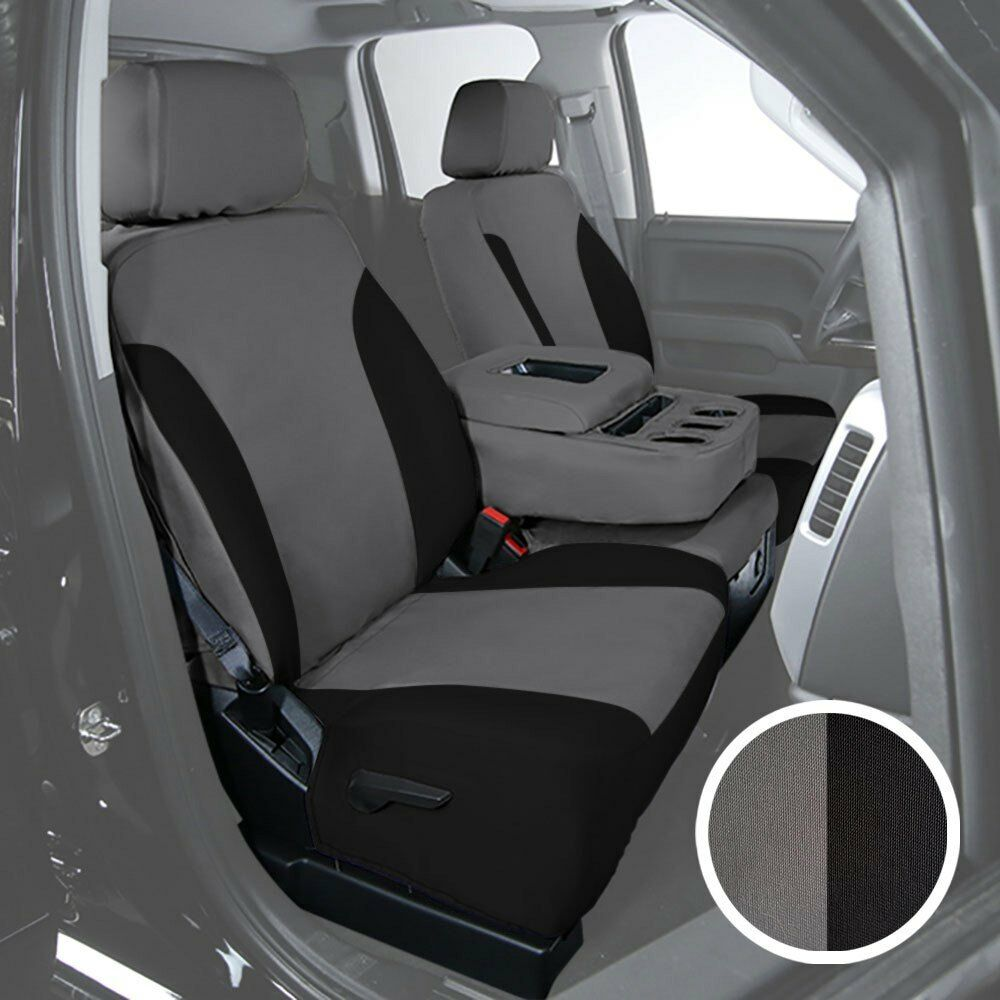 Toyota Tundra Seat Covers >> For Toyota Tundra 14 18 Canvas 1st Row Charcoal W Black Custom Seat
