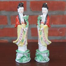 Pair of Guanyin Kwan Yin Mercy Goddess Porcelain Figurines Statues 9