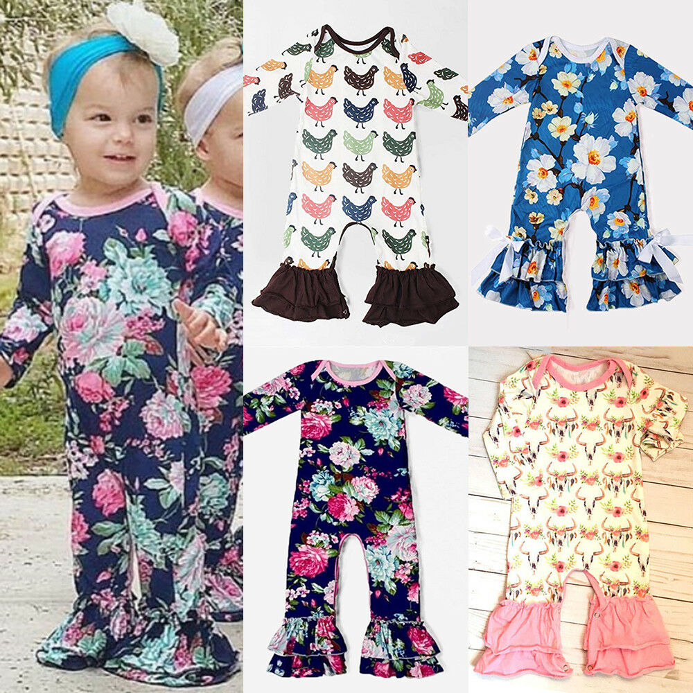 d4e93034eb2f Details about US Newborn Baby Girl Long Sleeve Flower Ruffle Romper  Jumpsuit Outfits Clothes