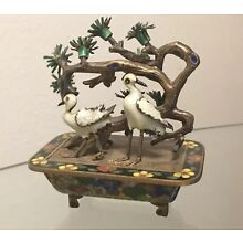 80% OFF Chinese Export Silver Cloisonné Enamel Bonsai Crane Sculpture