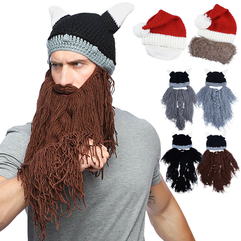 0ac187b59d3 Details about Unisex Knitted Viking Beard Hat Winter Crazy Mask Caps  Barbarian Beanie Cosplay
