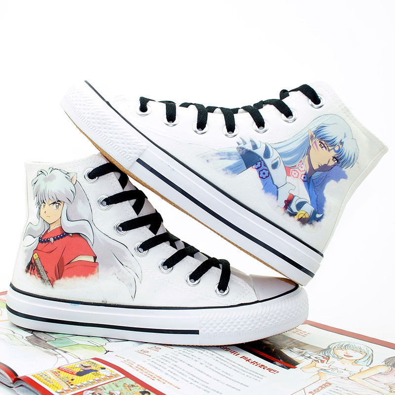 b6aebe0ae556ea Details about Anime Inuyasha Canvas Shoes Women Mens High Top Sneakers  Unisex Casual Shoes