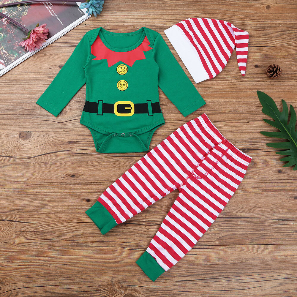 63b882c3b83a Details about Christmas Baby Boys Kids Costume Long Sleeve Romper Pants Hat Outfits  Clothes