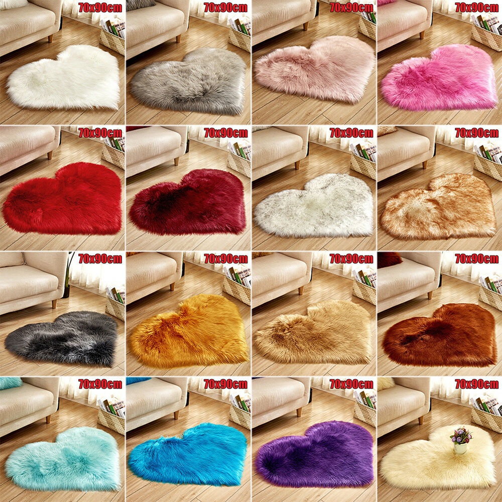 Heart Shape Fluffy Faux Fur Rug Floor Mat Thick Cover