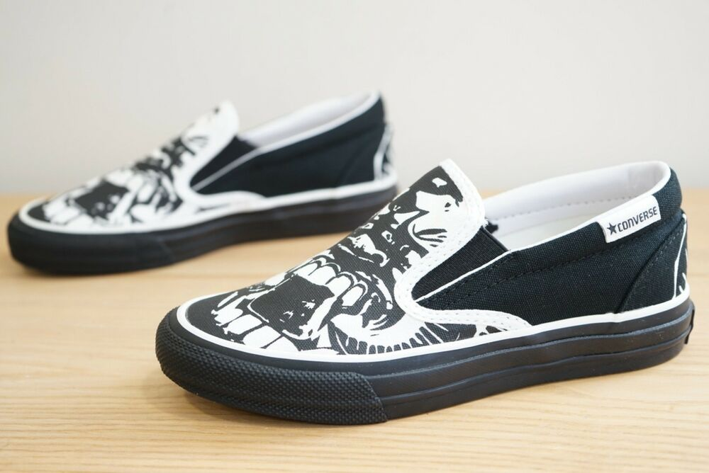 Details about Converse Skid Grip EV Skulls Slip On Skate Trainers Shoes  Size UK 3.5 (KAD) 1aa537430