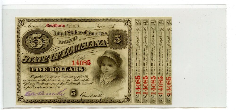 5 Baby Bond Of The State Louisiana 1878 Obsolete Note Currency Ec5164 Ebay