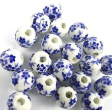 8mm Floral Blue & White Porcelain Round Beads Lot of 20 pcs • Located in USA •