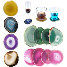 Wine Coffee Cup Coasters Natural Unwrapped Agate Beverage Cup-mat Gemstone Set