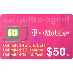 Preloaded T-Mobile SIM Card with Prepaid Plan $50 Unlimited 4G LTE 30 Days