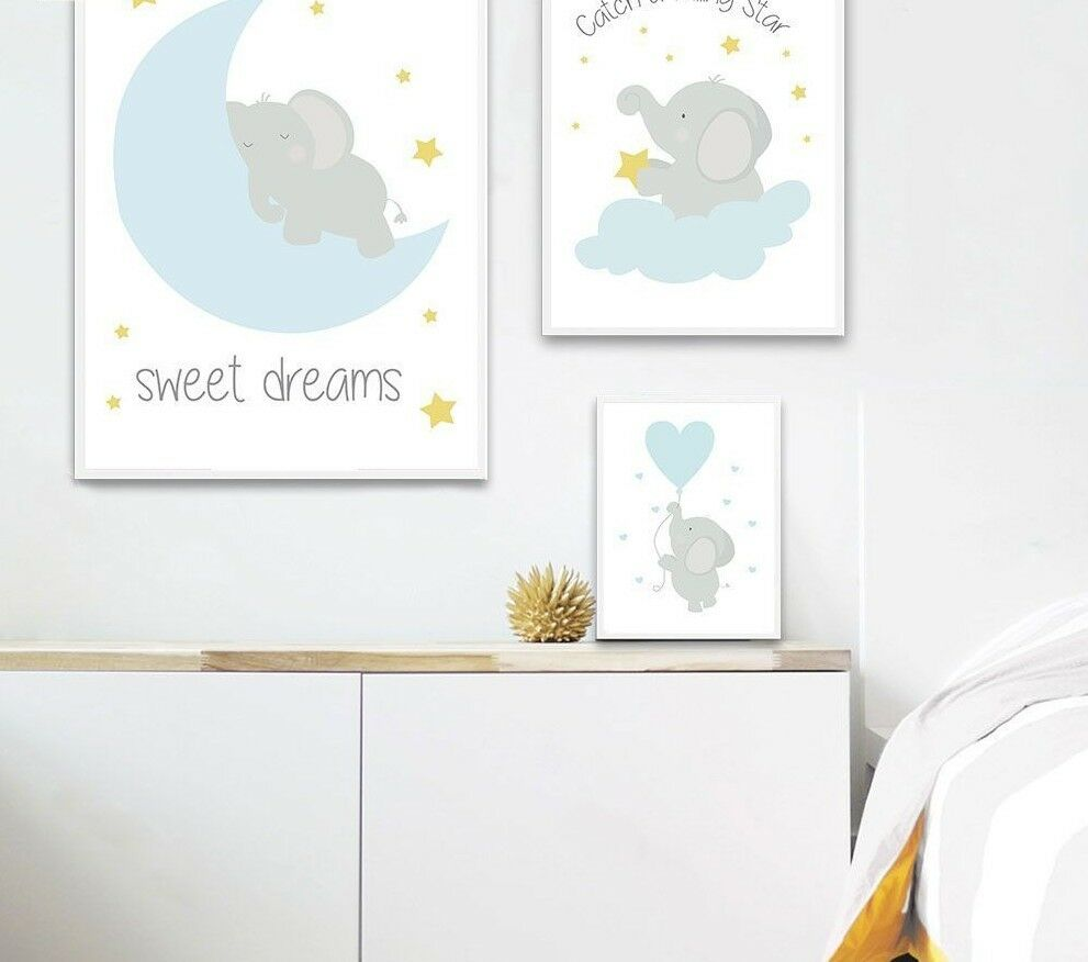 Wall Art Canvas Baby Nursery Room Posters Prints Cartoon Elephant Moon Paintings