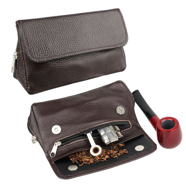 Smoking Pipe Pouch Leather Tobacco Case Bag for 2 Pipe Holder Accessories