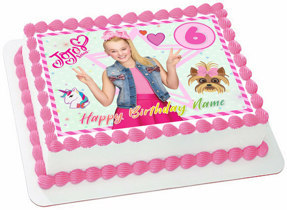 Jojo Siwa Edible Wafer Paper Sheet Cake Topper Birthday ...