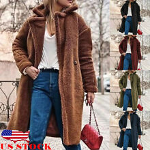 US Women Thick Warm Teddy Bear Faux Fur Long Outwear Fleece Jacket Coat Overcoat