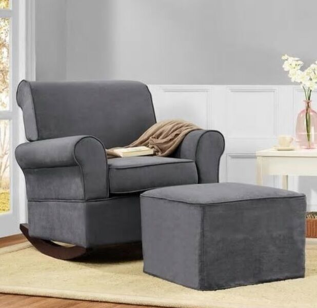 Details about Gray Rocker Chairs u0026/or Ottoman Rocking Chair Nursery Furniture Baby Kids Relax & Gray Rocker Chairs u0026/or Ottoman Rocking Chair Nursery Furniture Baby ...