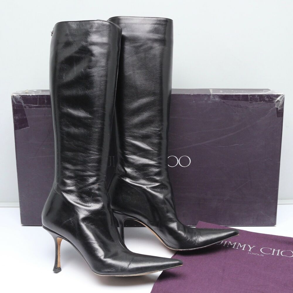 c1ac77acb54d Details about Jimmy Choo Womens Griffe Heel Boots 38.5 Black Kid Leather  Point Toe Zip 14