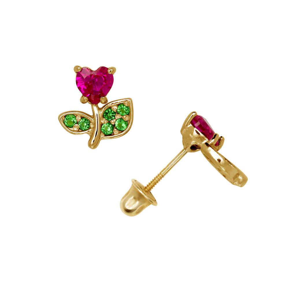 bc663fa2e Details about Heart Flower Ruby & Emerald Child Stud Earrings Screw Back  14K Yellow Gold