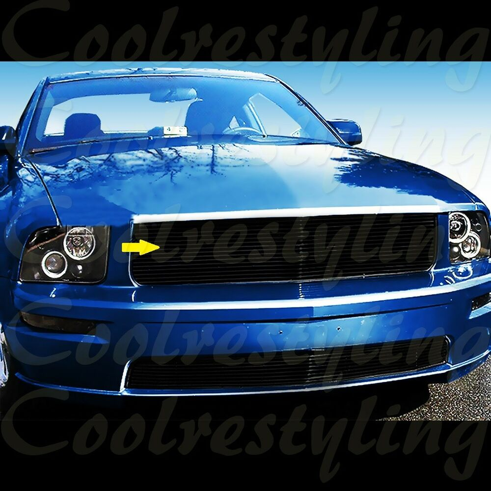 Details About For 05 06 07 08 09 Ford Mustang Gt V8 Black Billet Grille Grill Insert 1pc Cut