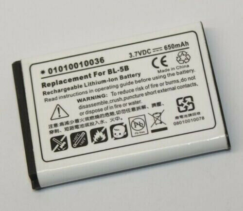Rechargeable Lithium Ion Battery 01010010036 3.7V 650mAh Replacement for BL-5B