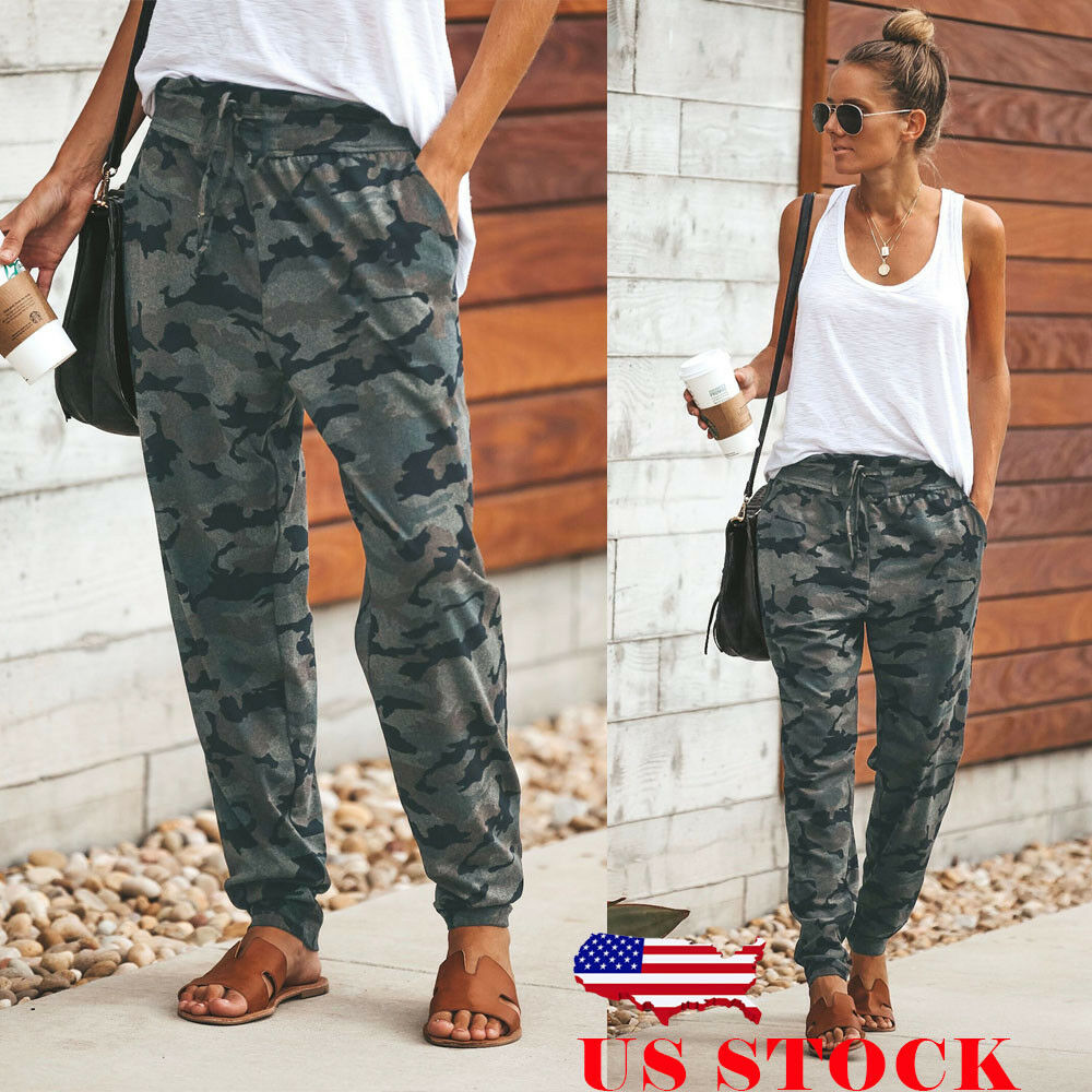 165efd7088 Details about US Womens Camo Cargo Trousers Casual Pants Military Army  Combat Camouflage Pant