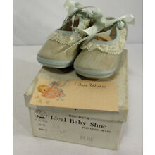 Vintage Mrs. Day's Ideal Baby Shoes Blue Size 1 Original Box Washable Fabric