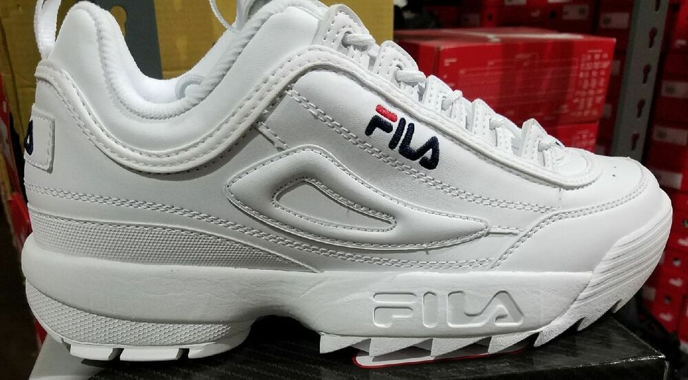 659918800805 Details about Fila Disruptor II 2 White Navy Red Mens Sneakers Shoes  FW01655-111 Sizes