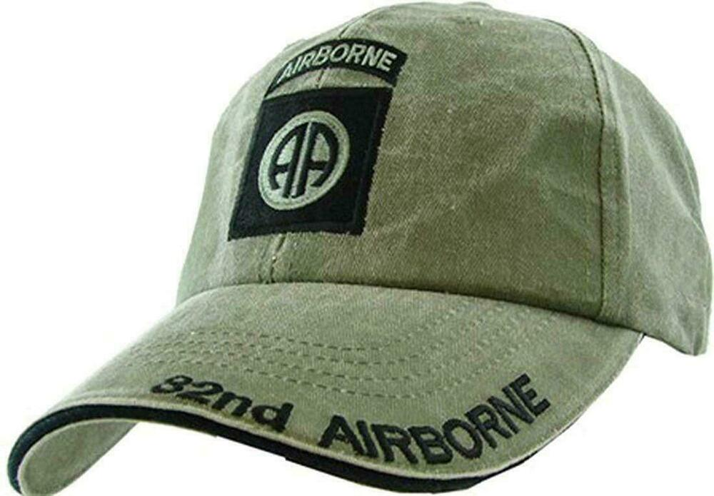 ad8982693fe8e Details about ARMY 82nd AIRBORNE HAT EMBROIDERED MILITARY BALL CAP STONE  WASHED OD GREEN