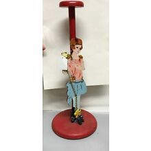 VTG  Art Deco Red Wood Girl Jeweled Beads Scottie Dog Trinkets Hat Stand