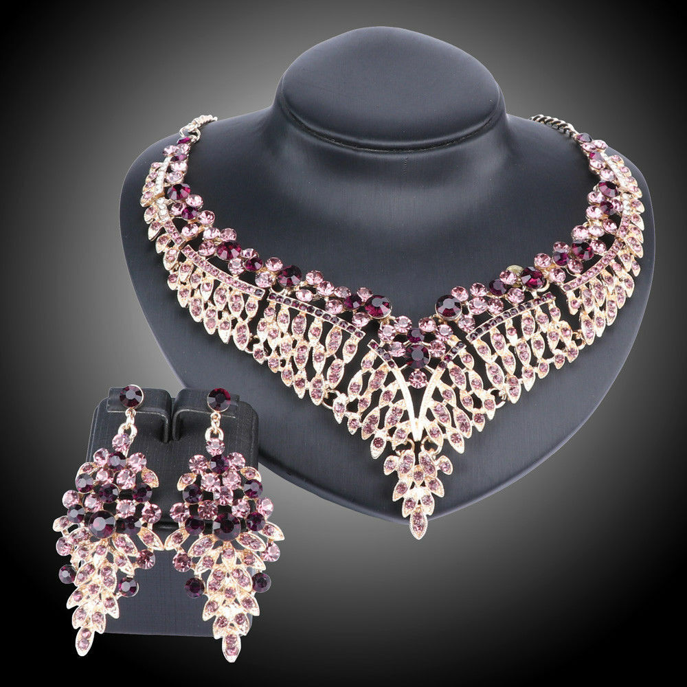 bb4f442a4ea2a0 Details about Women Bridal Rhinestone Crystal Statement Necklace Earring  Wedding Dress Jewelry